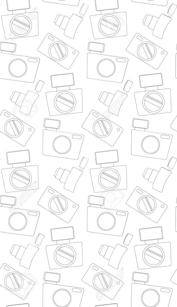 Seamless Pattern With The Contours Of Camera Vector Background For Your Design Stock