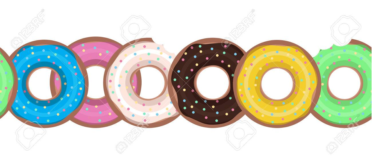 seamless border with flat donuts in a row vector element for rh 123rf com Sun Clip Art Coffee Clip Art