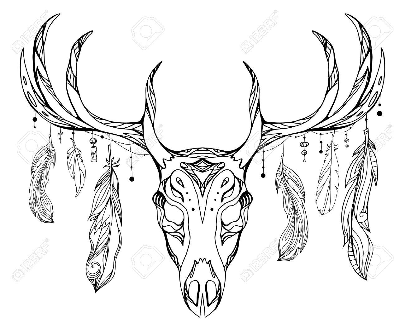 Ilustración De Contorno De Un Cráneo De Venado Con Cuernos Y Plumas ...