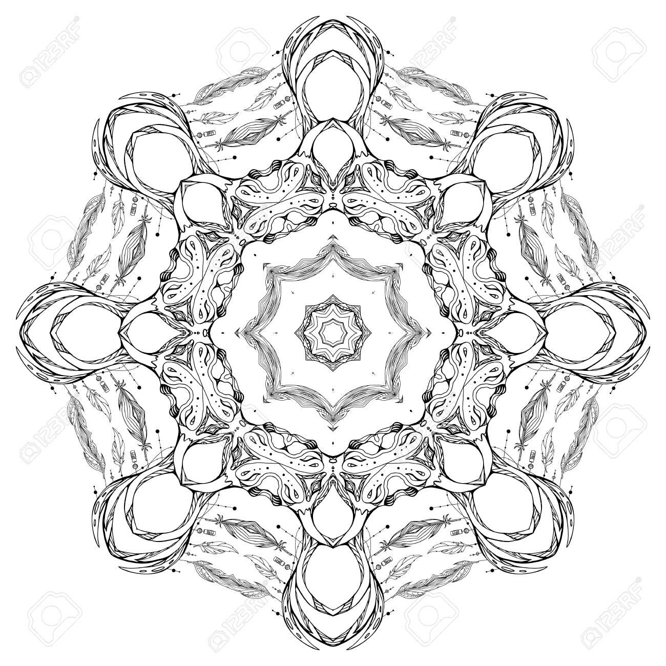 Mandala Circular Delicado Con El Patrón De La Doodle. Elemento Del ...