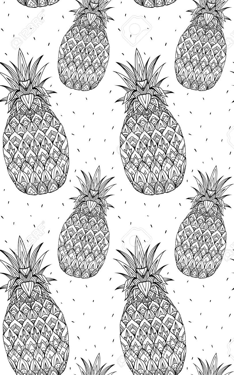 2f5842c6 Seamless doodle texture with pineapple with boho pattern. Vector element  for printing on T-