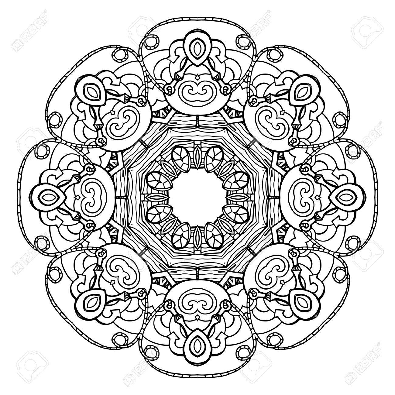 Template Round Doodle Pattern For Greeting Cards Coloring Books