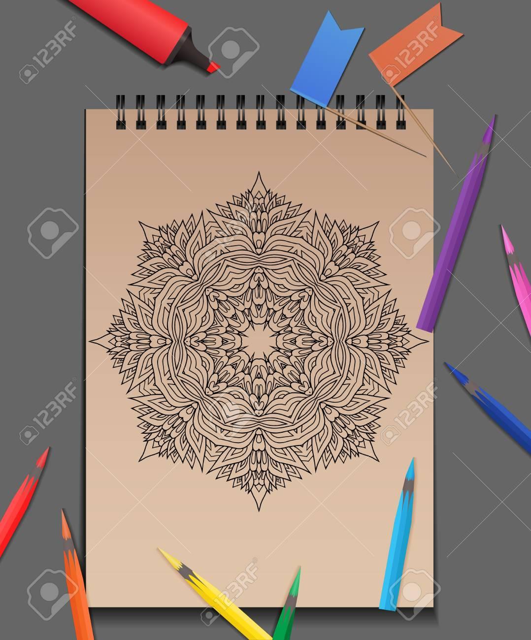 Vektor-Illustration Von Erwachsenen Mandala Mit Buntstiften Auf Dem ...