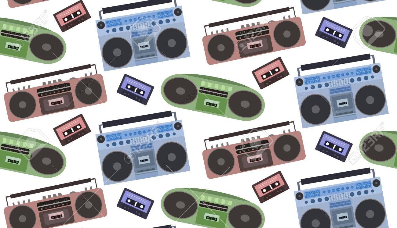 テープ レコーダーやカセット テープ使用したシームレスなテクスチャ ラップ 壁紙 サイトの背景 あなたの創造性のためのベクトルの背景のイラスト素材 ベクタ Image