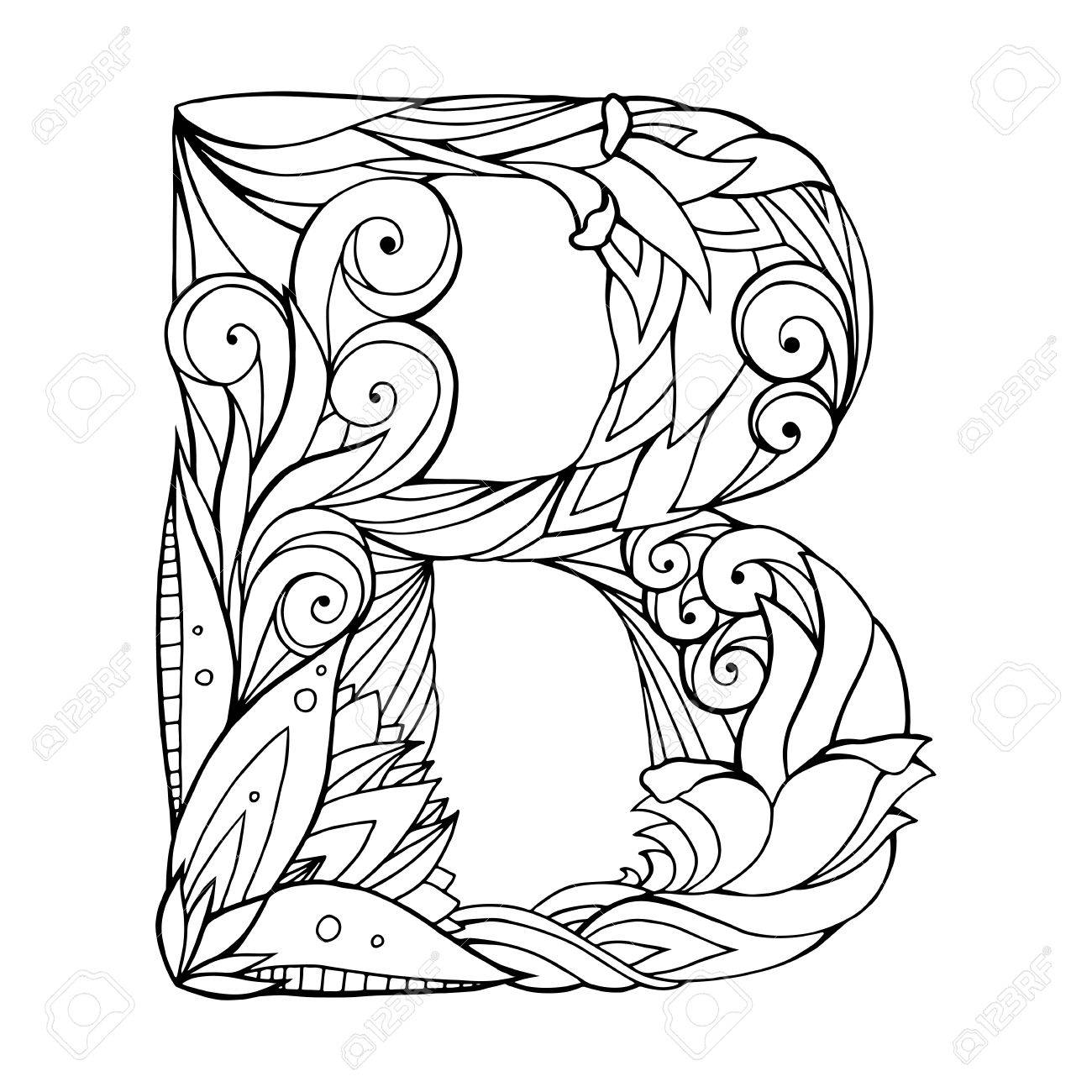 Black And White Freehand Drawing Capital Letter B With Floral