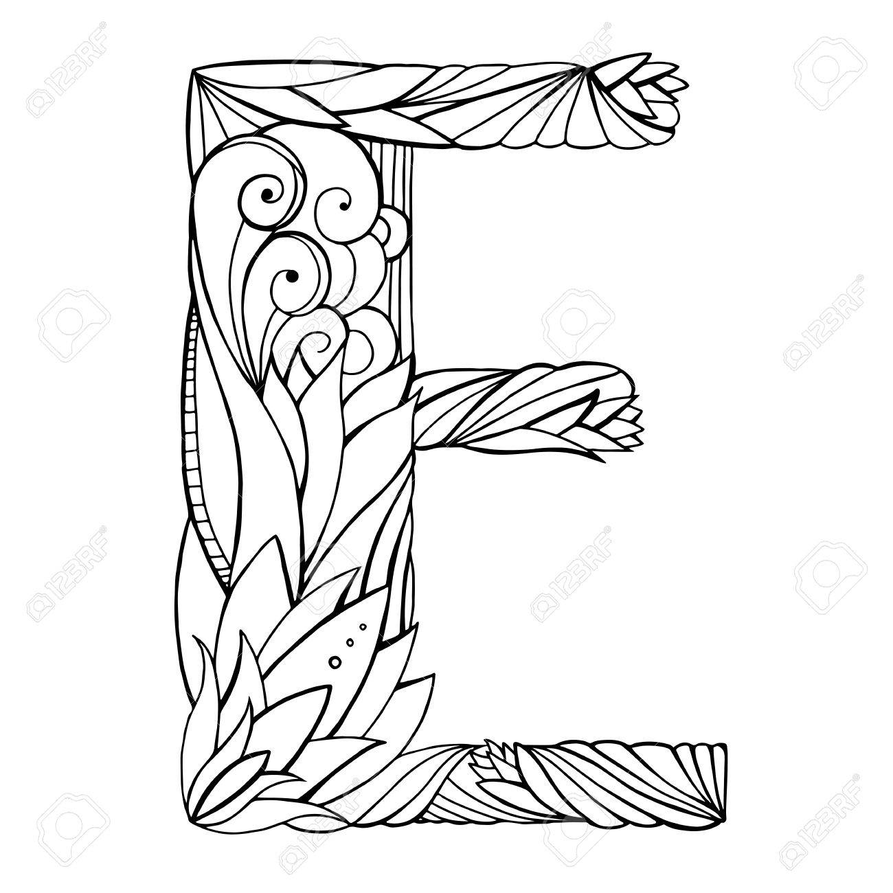 Black And White Freehand Drawing Capital Letter E With Floral