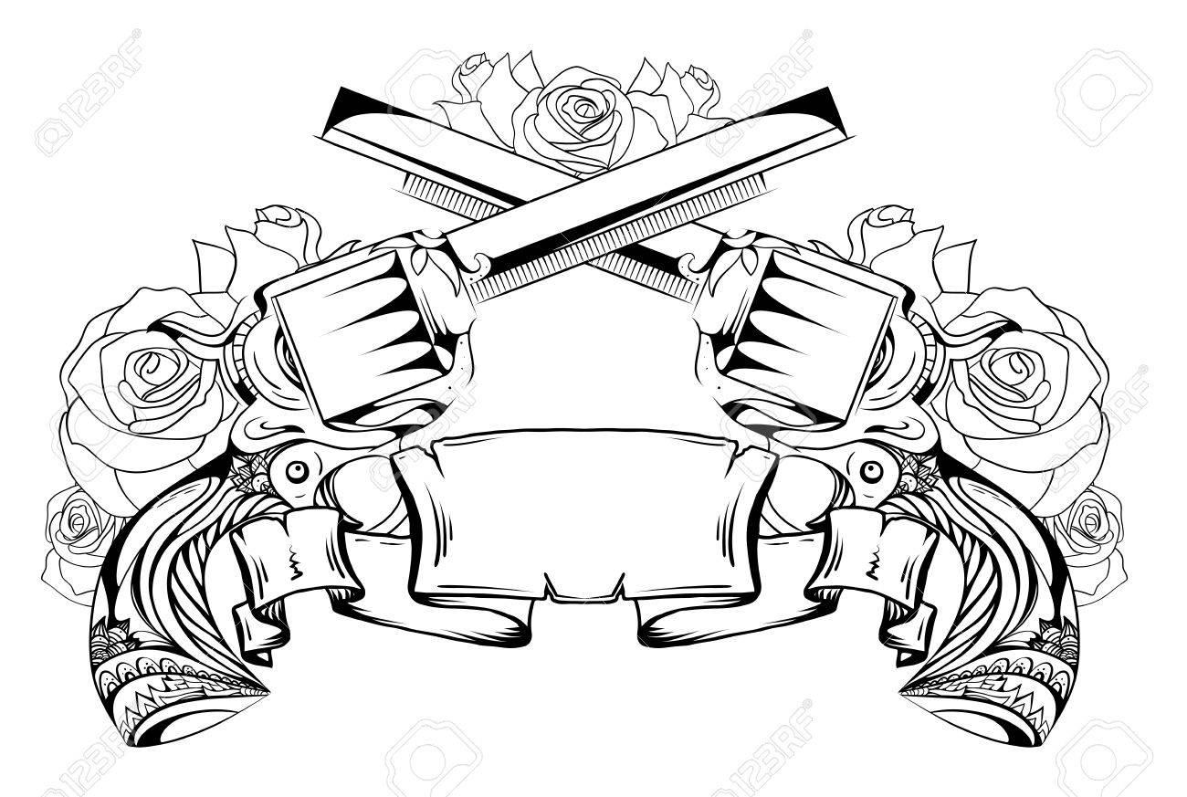 Dibujo Del Contorno De Dos Revólveres Rosas Y Pergaminos Duelo