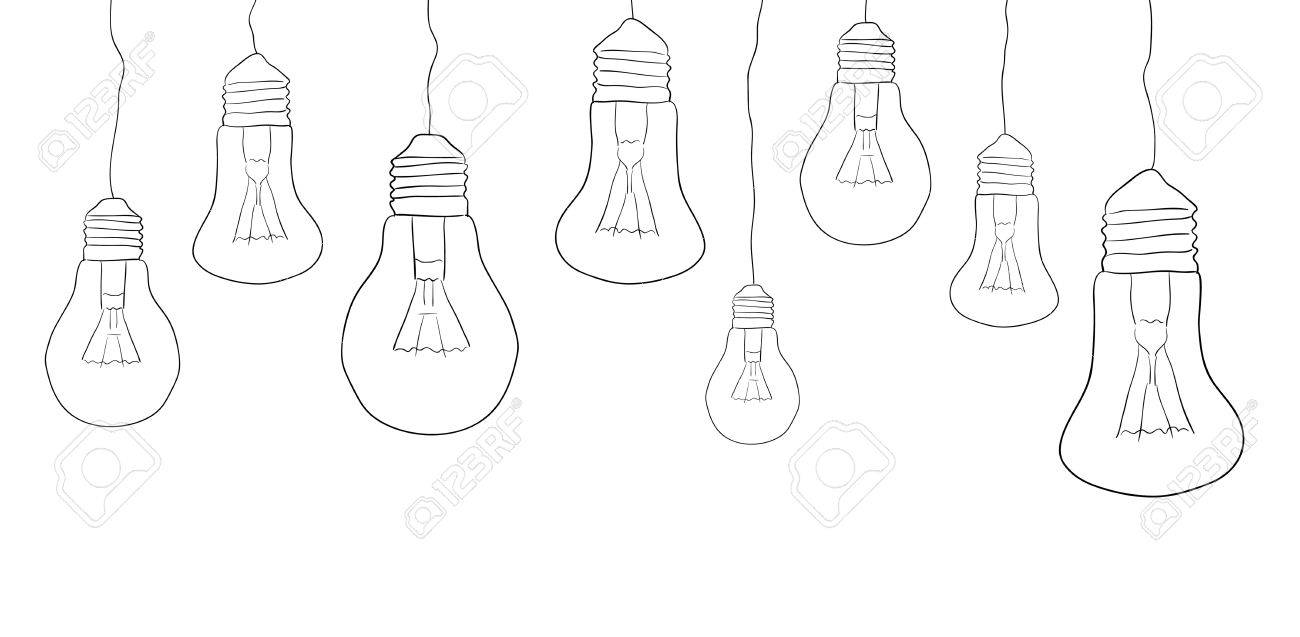 linear illustration of hanging light bulbs border vector element