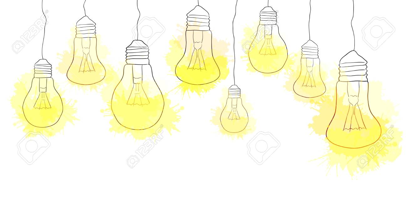 linear illustration of hanging light bulbs with watercolor splashes
