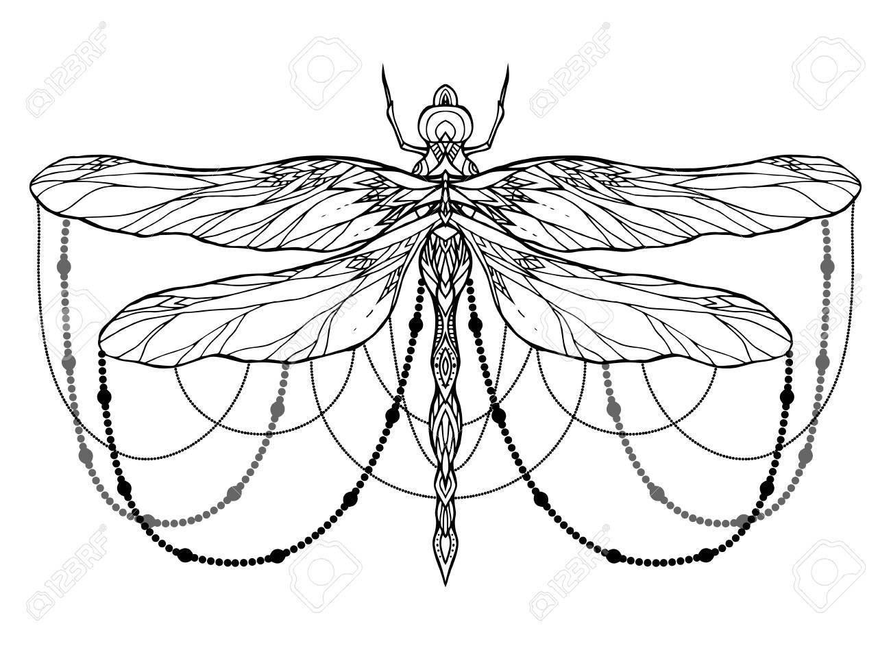 Schwarz-Weiß-Libelle Illustration Mit Boho-Muster Und Perlen. Vektor ...