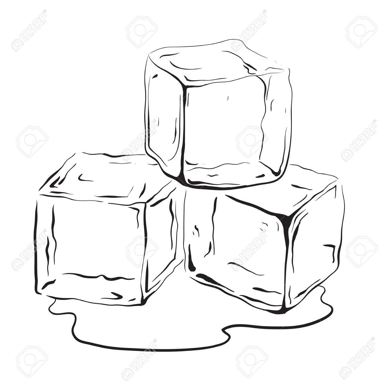 hand drawn ice cubes black and white vector illustration for royalty free cliparts vectors and stock illustration image 83596462 hand drawn ice cubes black and white vector illustration for