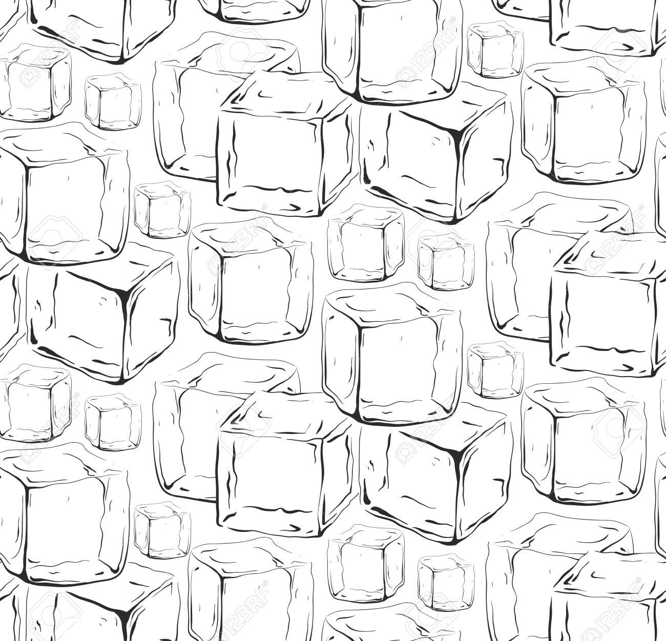 Texture transparente noir et blanc avec des glaçons dessinés à la main.  Modèle vectoriel pour votre créativité.