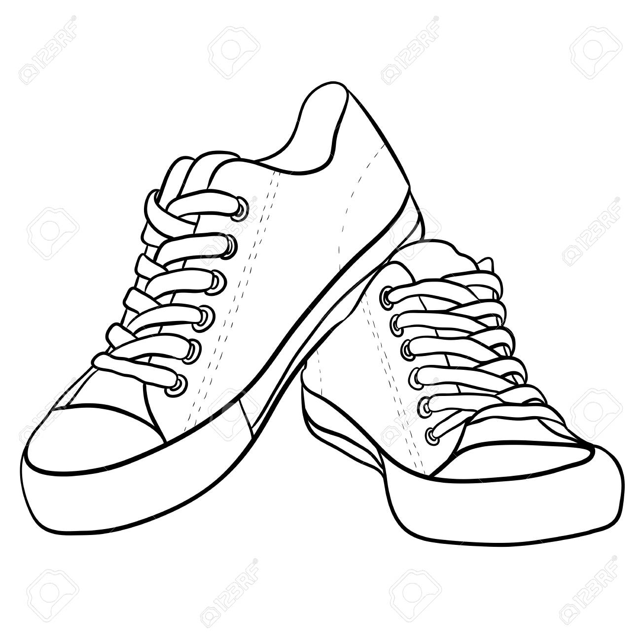 Contour black and white illustration of sneakers. Vector element for your creativity - 86208103