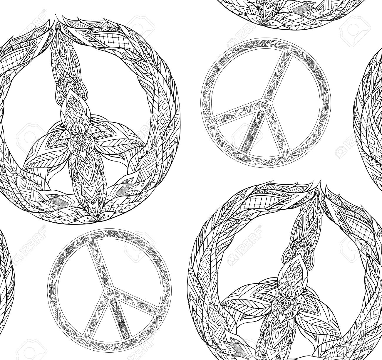Seamless Texture With A Black And White Peace Symbol And A Boho