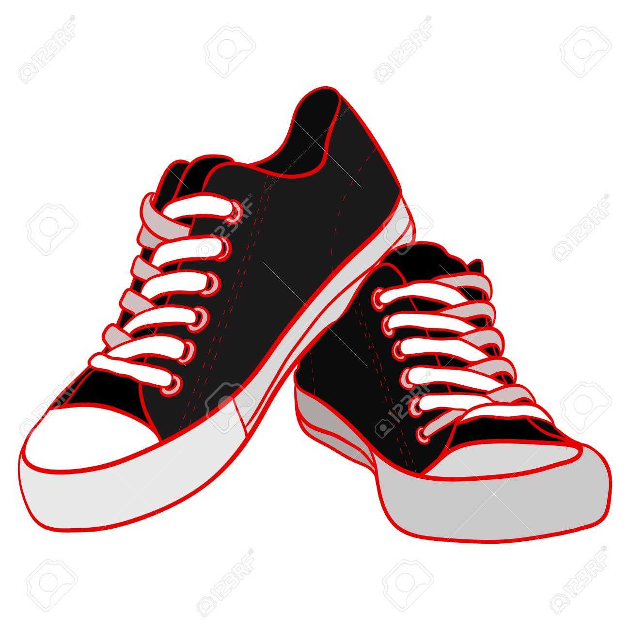 Illustrazione a colori di scarpe da ginnastica nere. Elemento vettoriale per la tua creatività