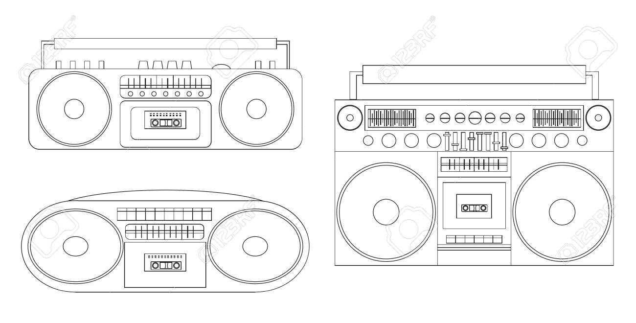 black white 90s radio clipart. Commercial use GIF, JPG, PNG, EPS, SVG, PDF  clipart # 382935 | Graphics Factory