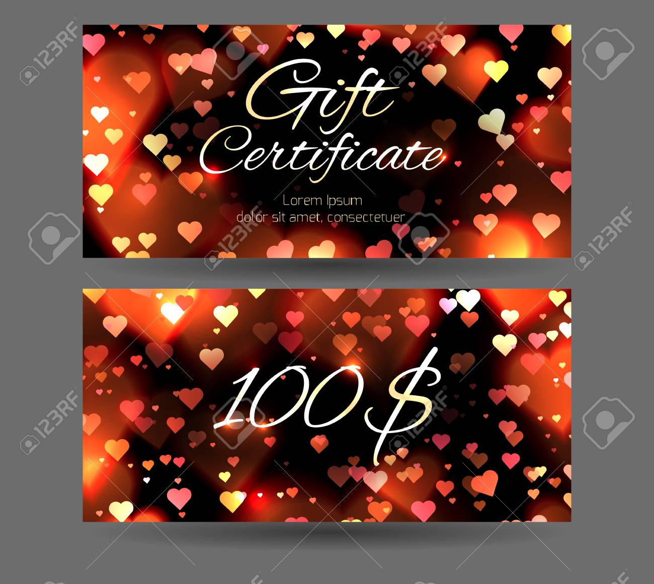 Gift Certificate With Sparks And Hearts On A Dark Background