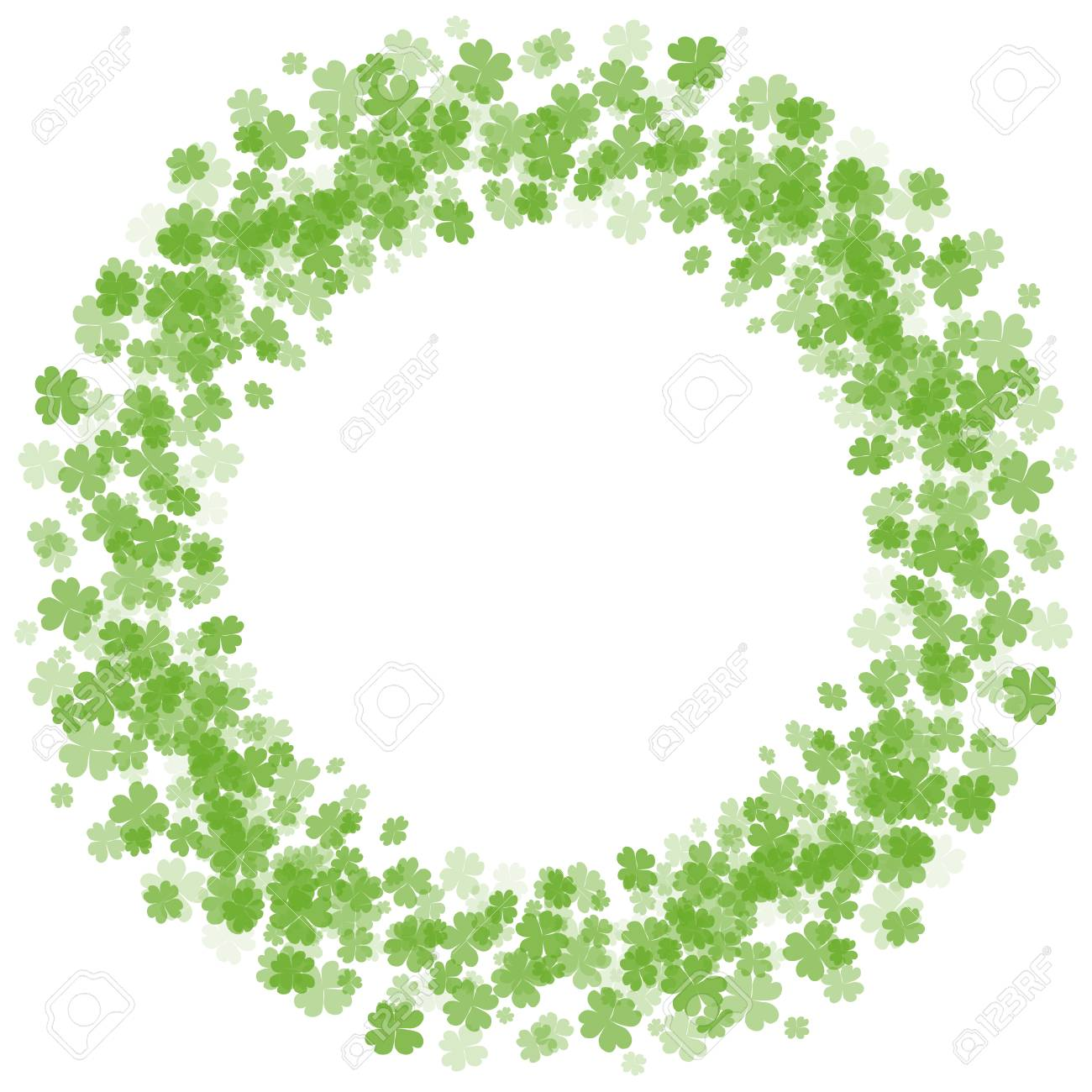 Round Frame With Four Leaf Clover St Patricks Day Vector