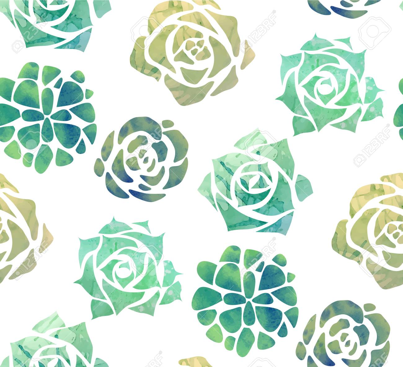 Seamless Texture With Watercolor Succulents On A White Background Royalty Free Cliparts Vectors And Stock Illustration Image 99466104