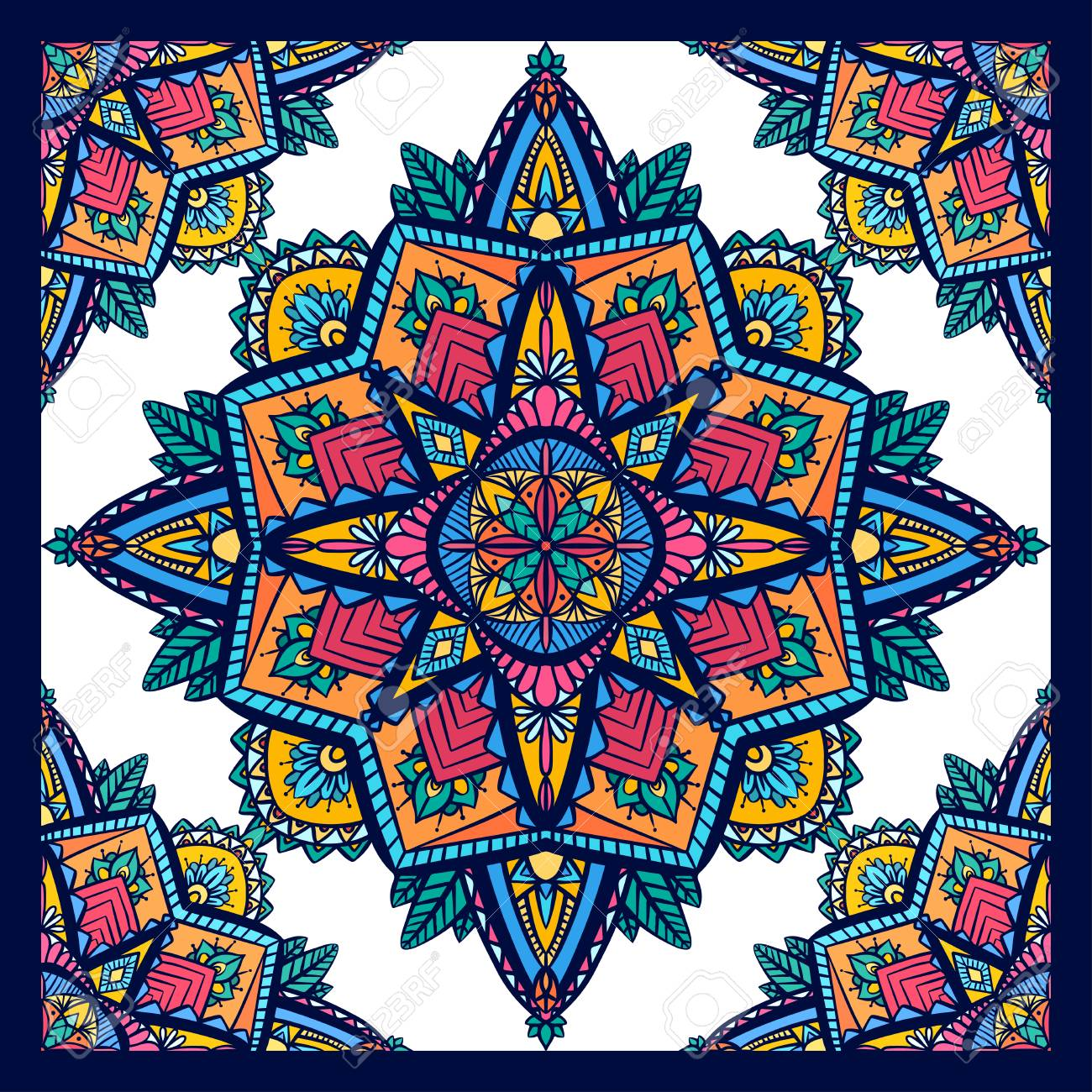 Seamless pattern of coloring mandalas on white background in..