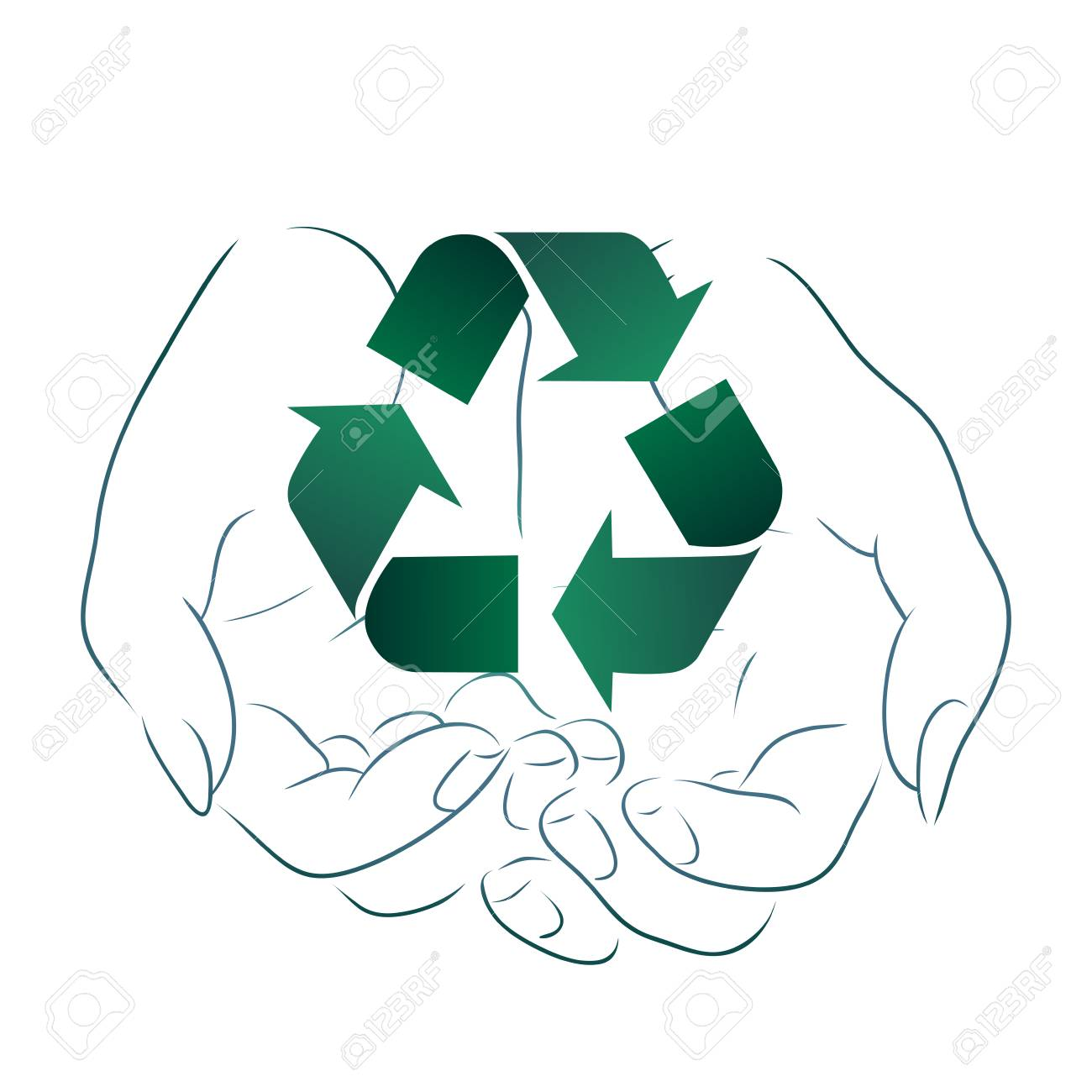 Outline drawing of hands holding a sign of recycling. Recycling and Zero Waste. Ecological vector element for logos, icons, banners and your design - 121044967