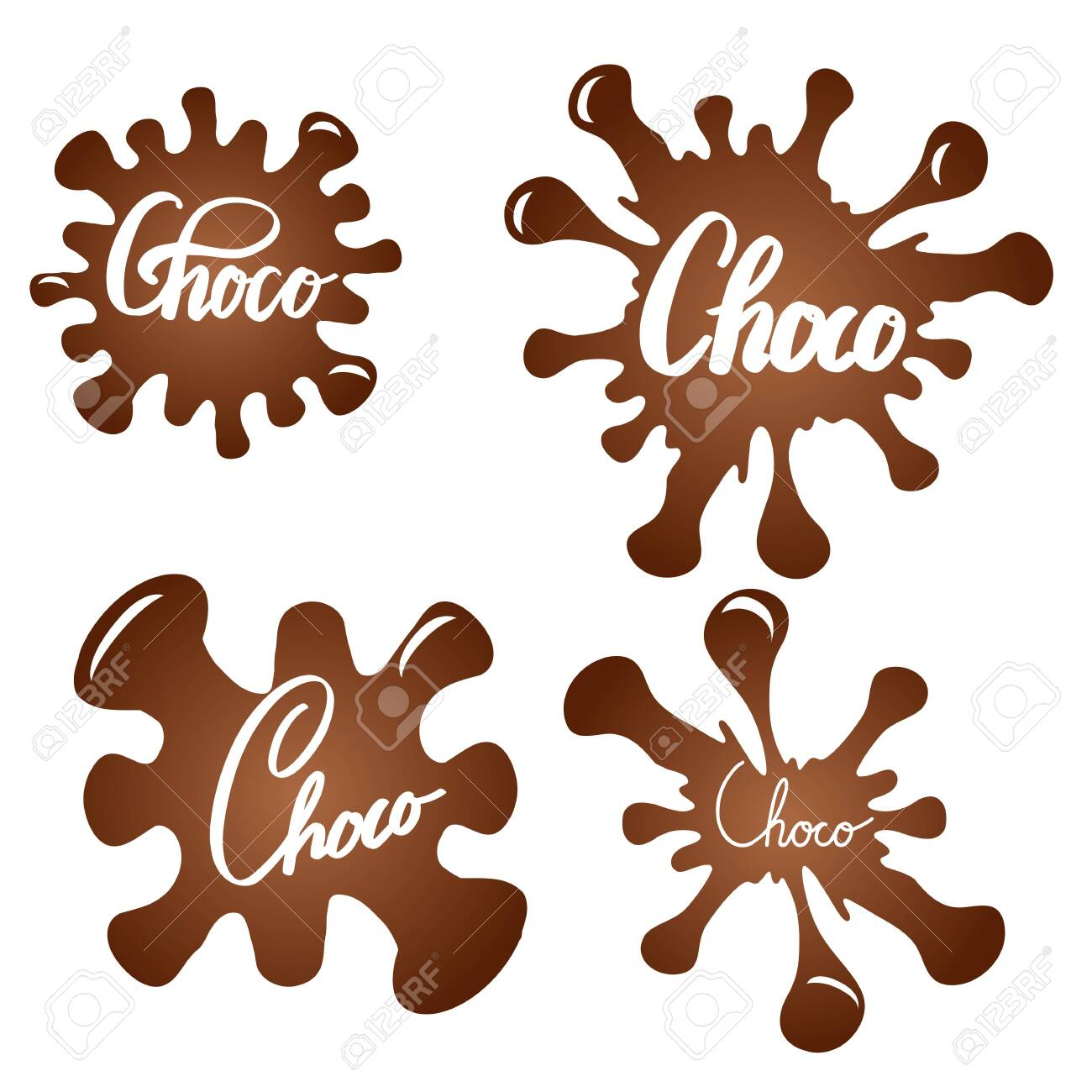 Set of chocolate splashes with brush calligraphy. Choco lettering. Honeyed inscription on sweet drops. Vector element - 130927454