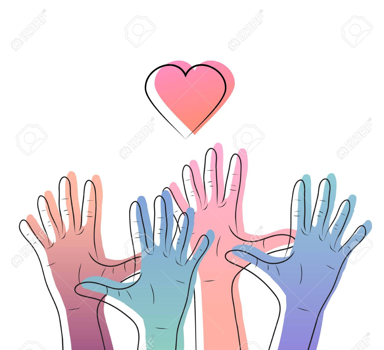 Linear illustration of color gradient human hands with hearts. International day of friendship and kindness. The unity of people. Vector element - 130927271