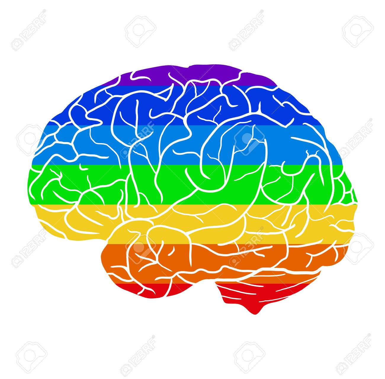 Human brain with a rainbow background. Different love. Month of pride to be yourself. Creativity and human development. Vector element, icons and your design. - 150369998