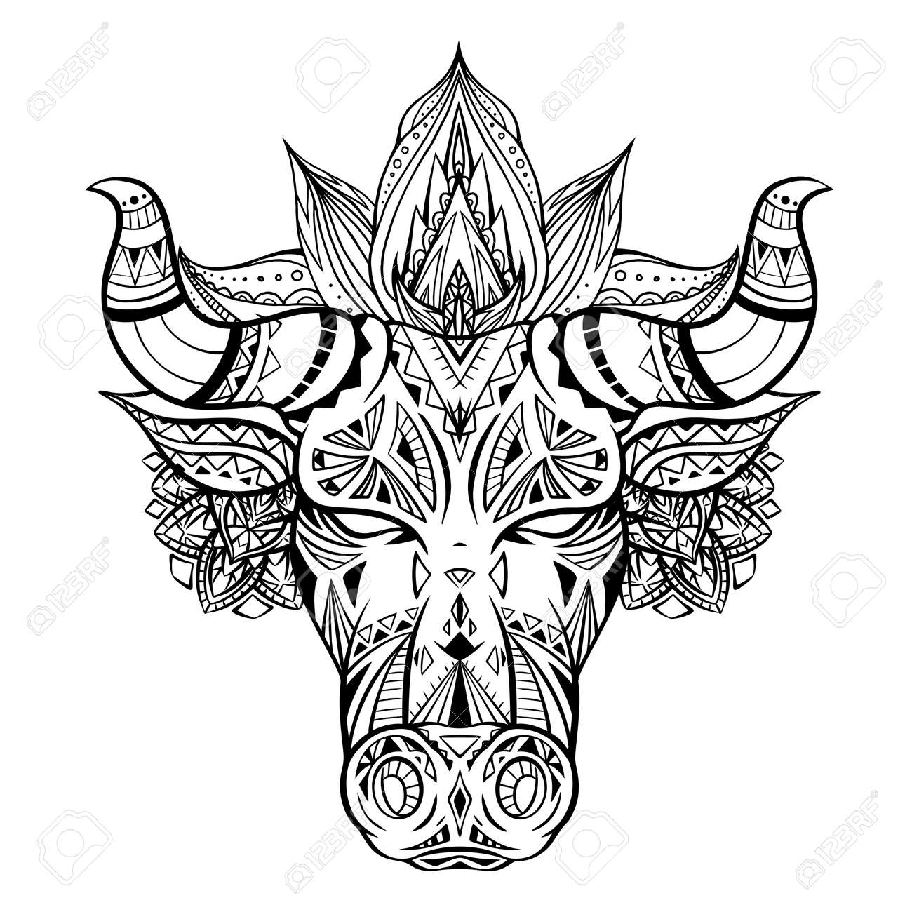 Outline illustration of a bull head with boho decoration and mandala. The symbol of the new year 2021. Contour native buffalo with horns. Vector illustration of animal head for tattoo and your design - 155388769