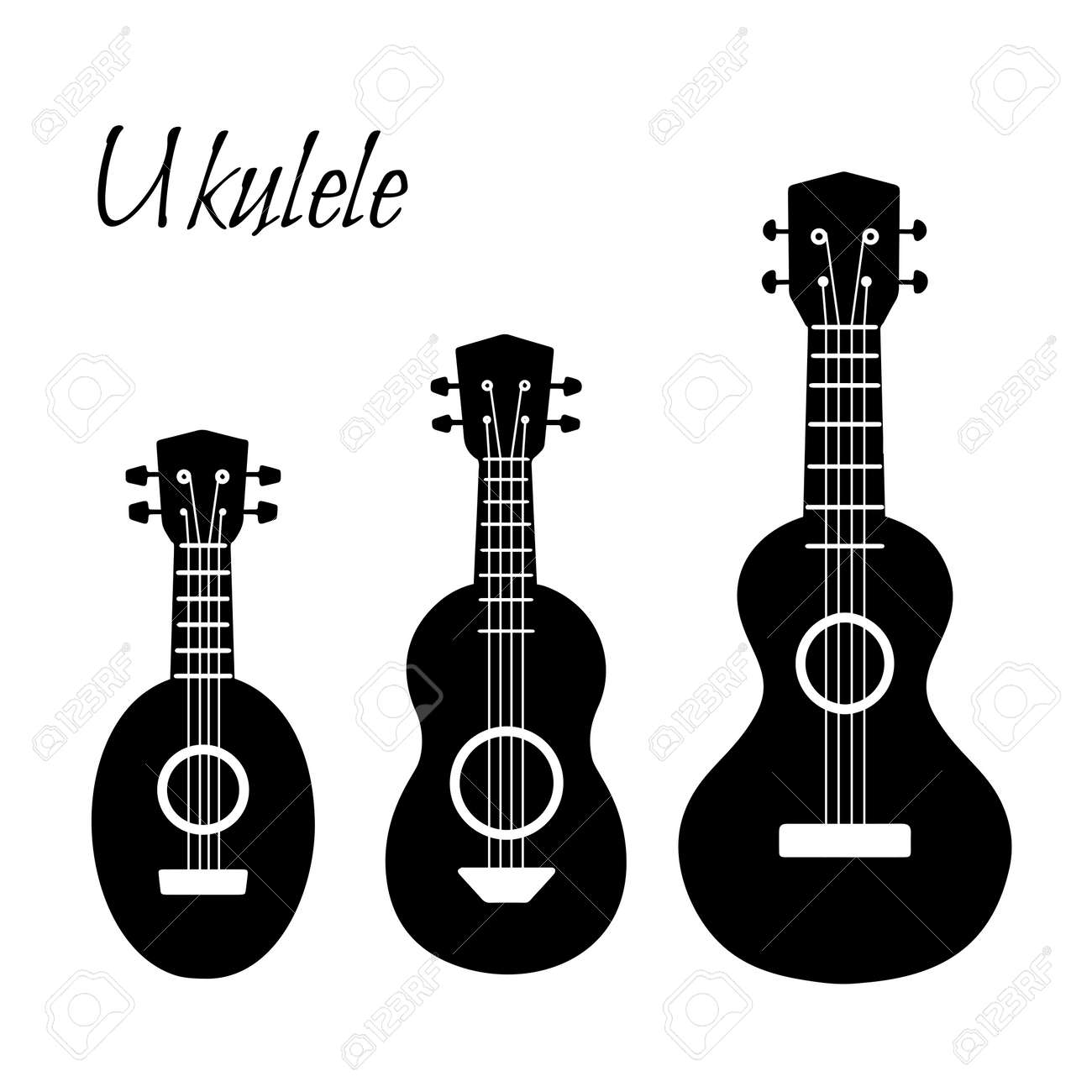 Set of black simple silhouette ukulele. Hawaiian music. Musical string instrument. Vector element for badges, banners, sticker and your design creativity - 157592792