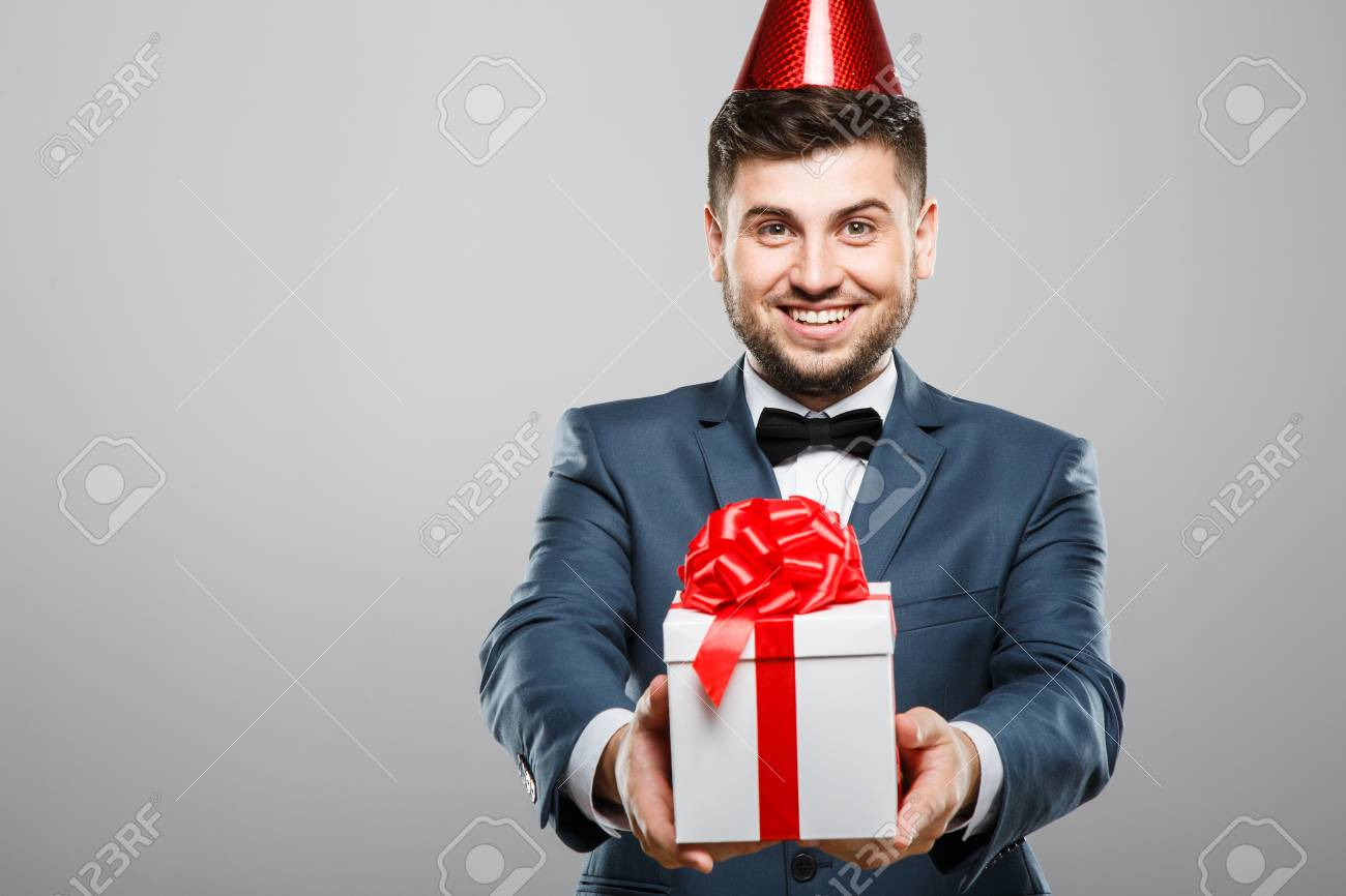 Man Holding Birthday Present