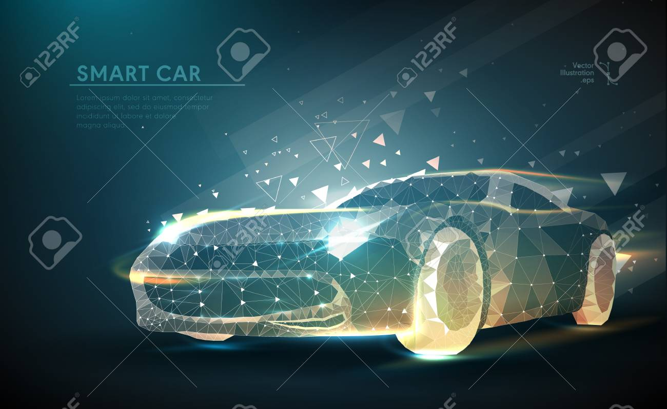 Abstract image of a auto in the form of a starry sky or space, consisting of points, lines, and shapes in the form of planets, stars and the universe. Vector business - 98795465