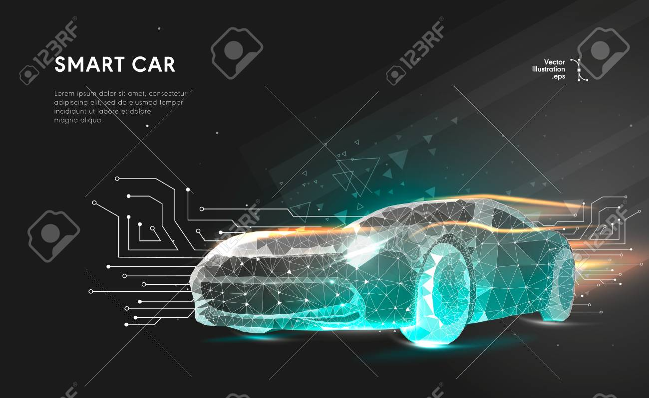 Smart or intelligent car. Sport car with polygon line on abstract background. Polygonal space low poly with connecting dots and lines. Connection structure. Vector speed concept background. - 98702774