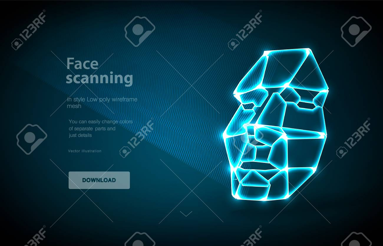 Face low poly art illustration  Concept of face detection by