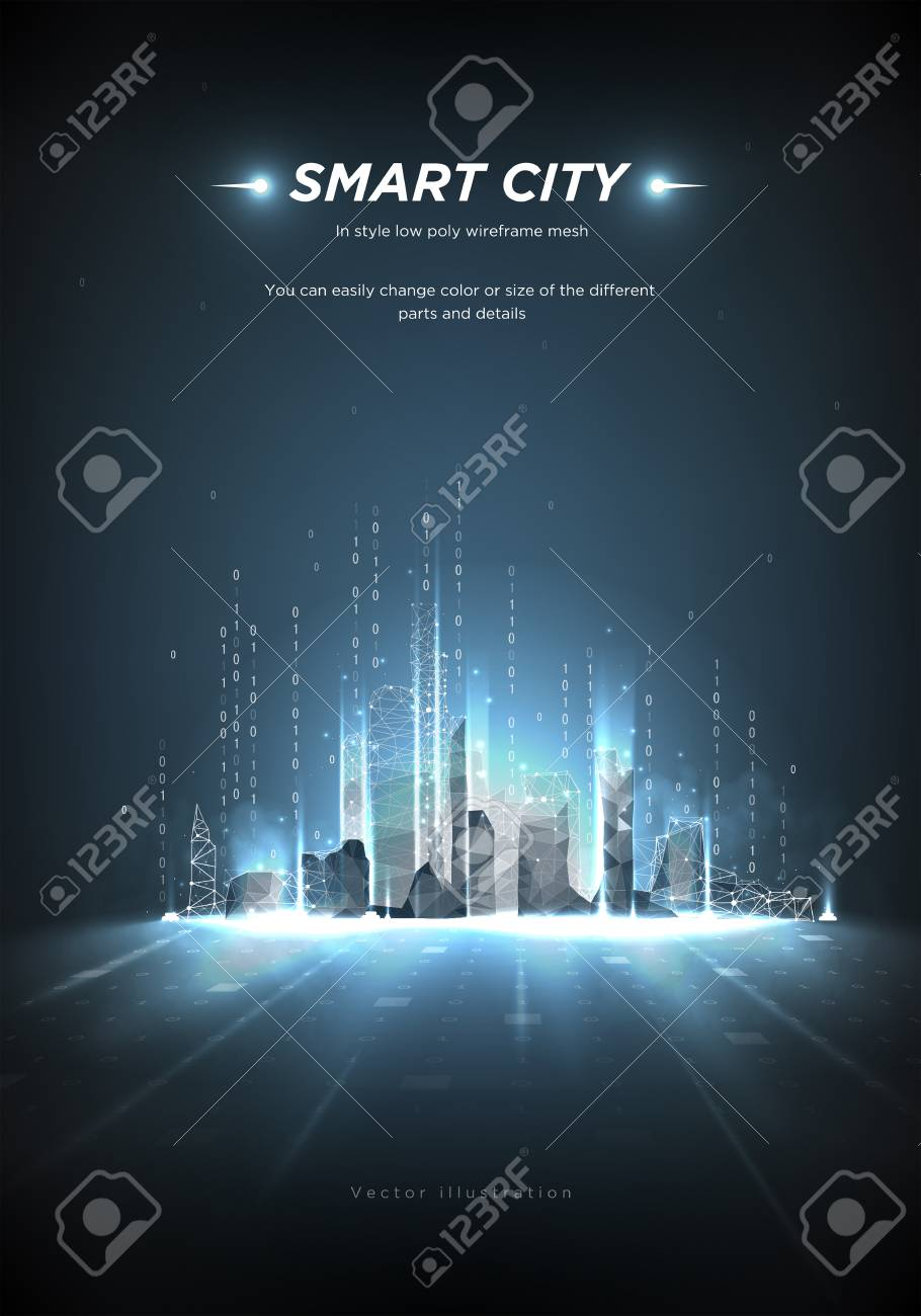 Smart city low poly wireframe on blue background.City future abstract or metropolis.Intelligent building automation. Binary code stream. Polygonal space low poly with connected dots and lines.Vector - 115480294