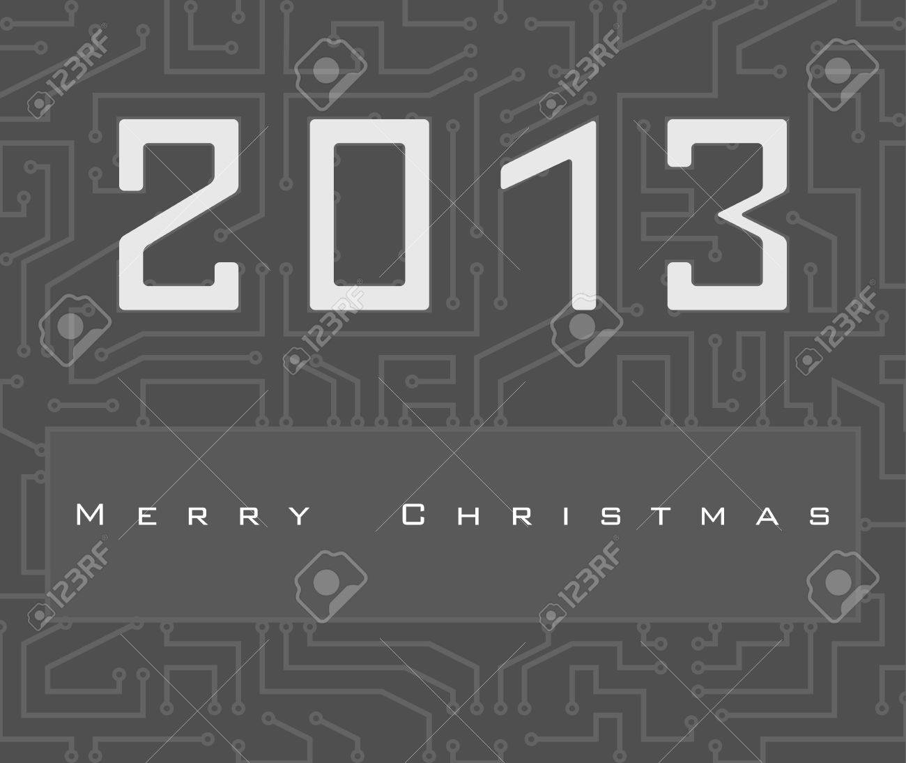 Vector Christmas card with 2013 number on digital electronic circuit Stock Vector - 16188975