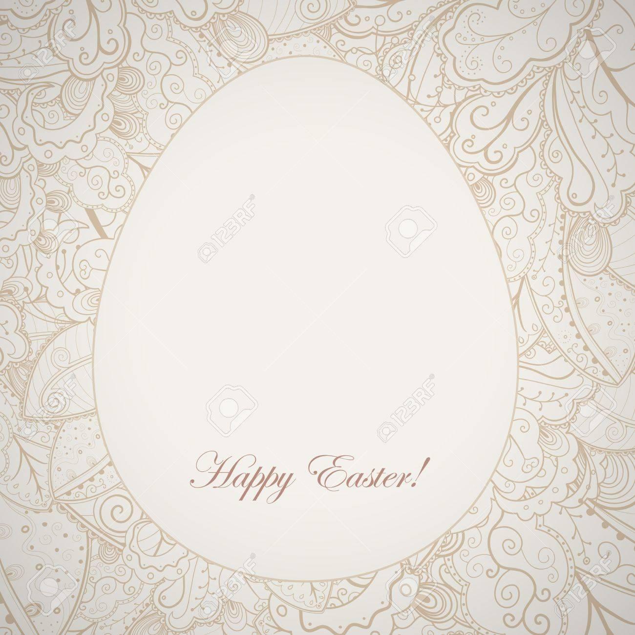 Pattern elegant easter frame with egg and rabbit. Stock Vector - 17031571