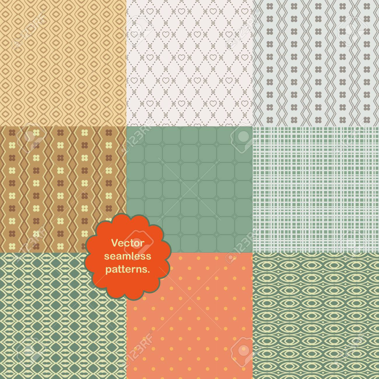 Set of papers for scrapbook or pack. Vector seamless backgrounds. Stock Vector - 19760044