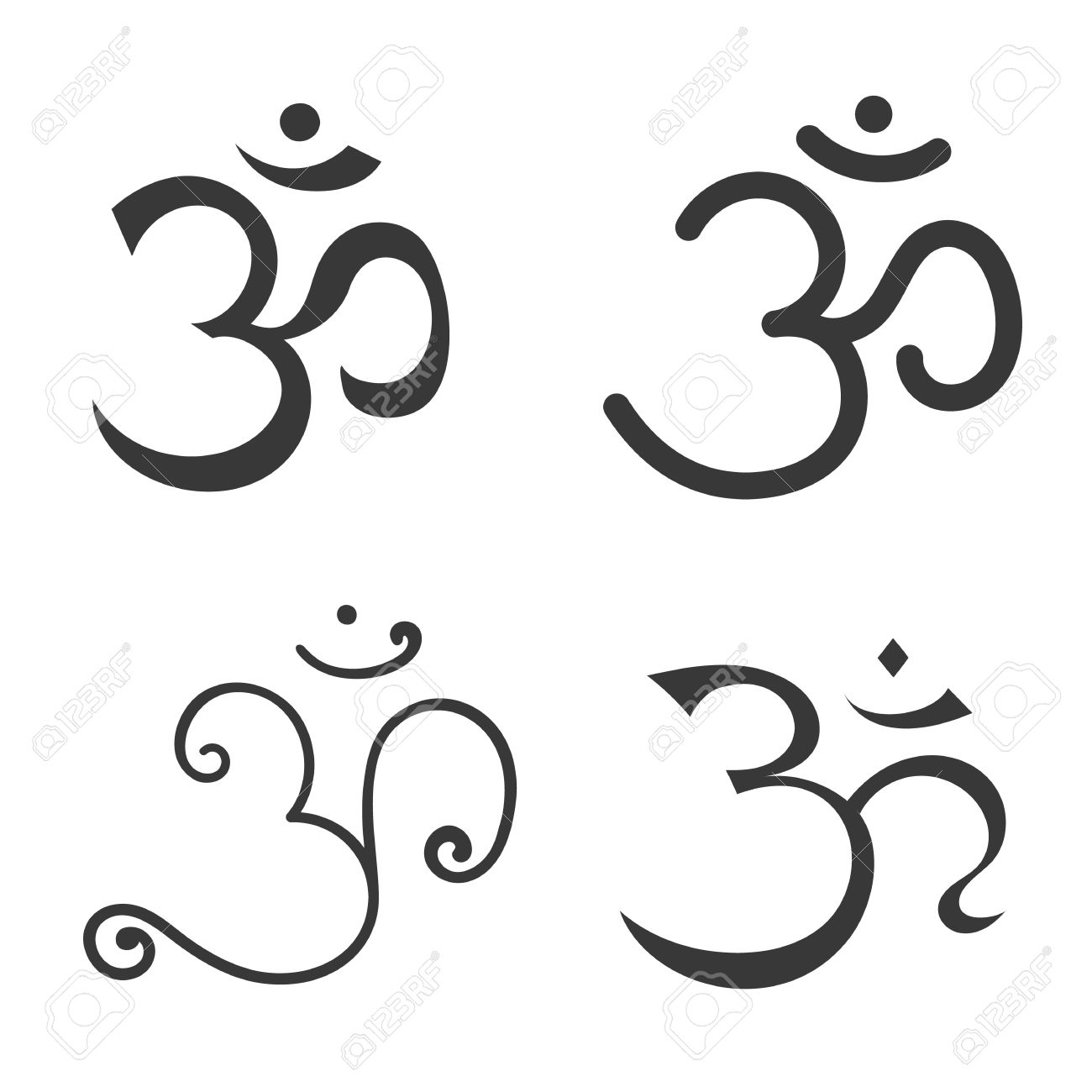 Sign Om Hand Drawn Symbol Of Buddhism And Hinduism Religions