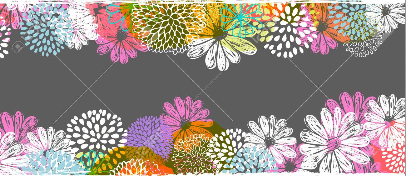 Vector border with lemon, white, blue, pink stylized doodle flowers and place for your text. - 68616531