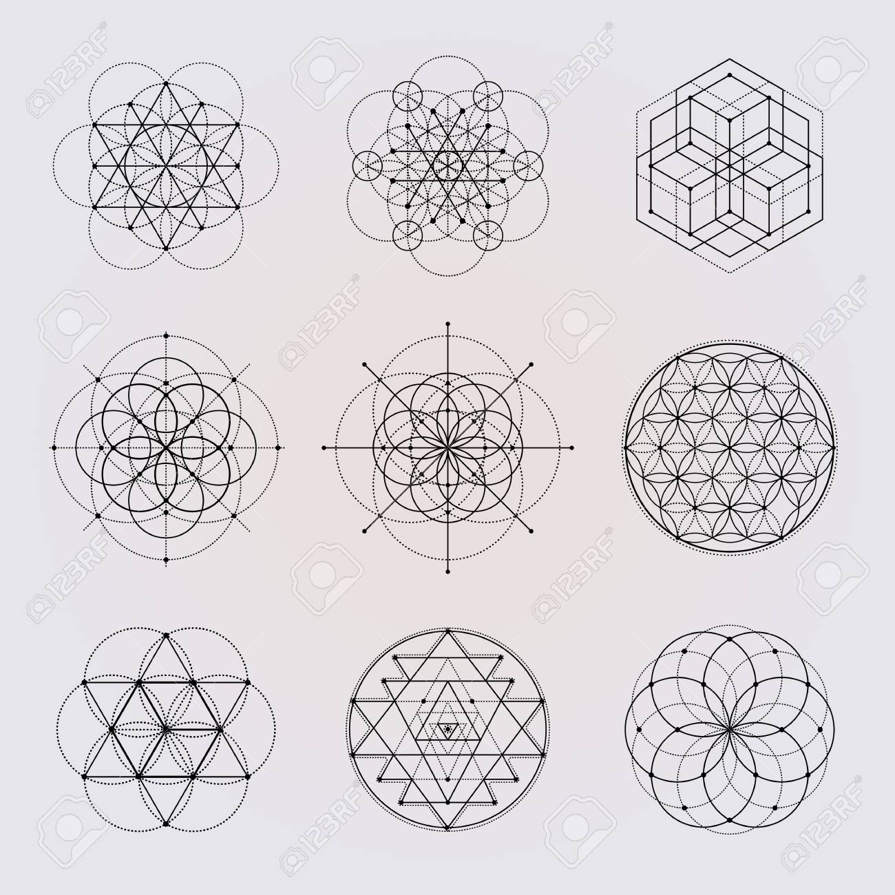 sacred geometry vector design elements royalty free cliparts