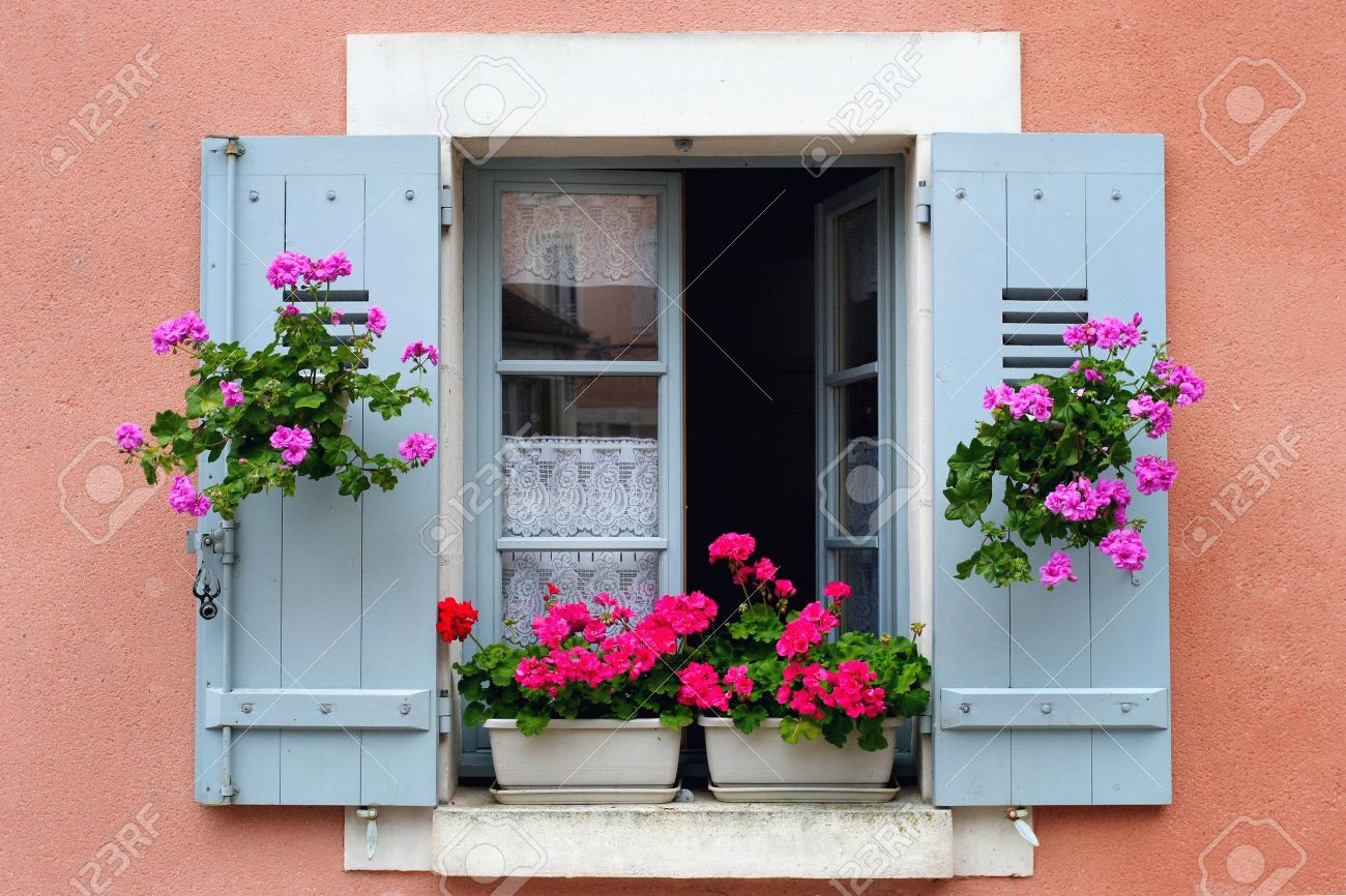 Window box flower arrangement, Burgundy, France Stock Photo - 11890628
