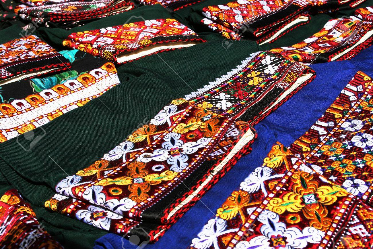 Element of national costume with traditional ornament  Turkmenistan  Ashkhabad market Stock Photo - 13776326