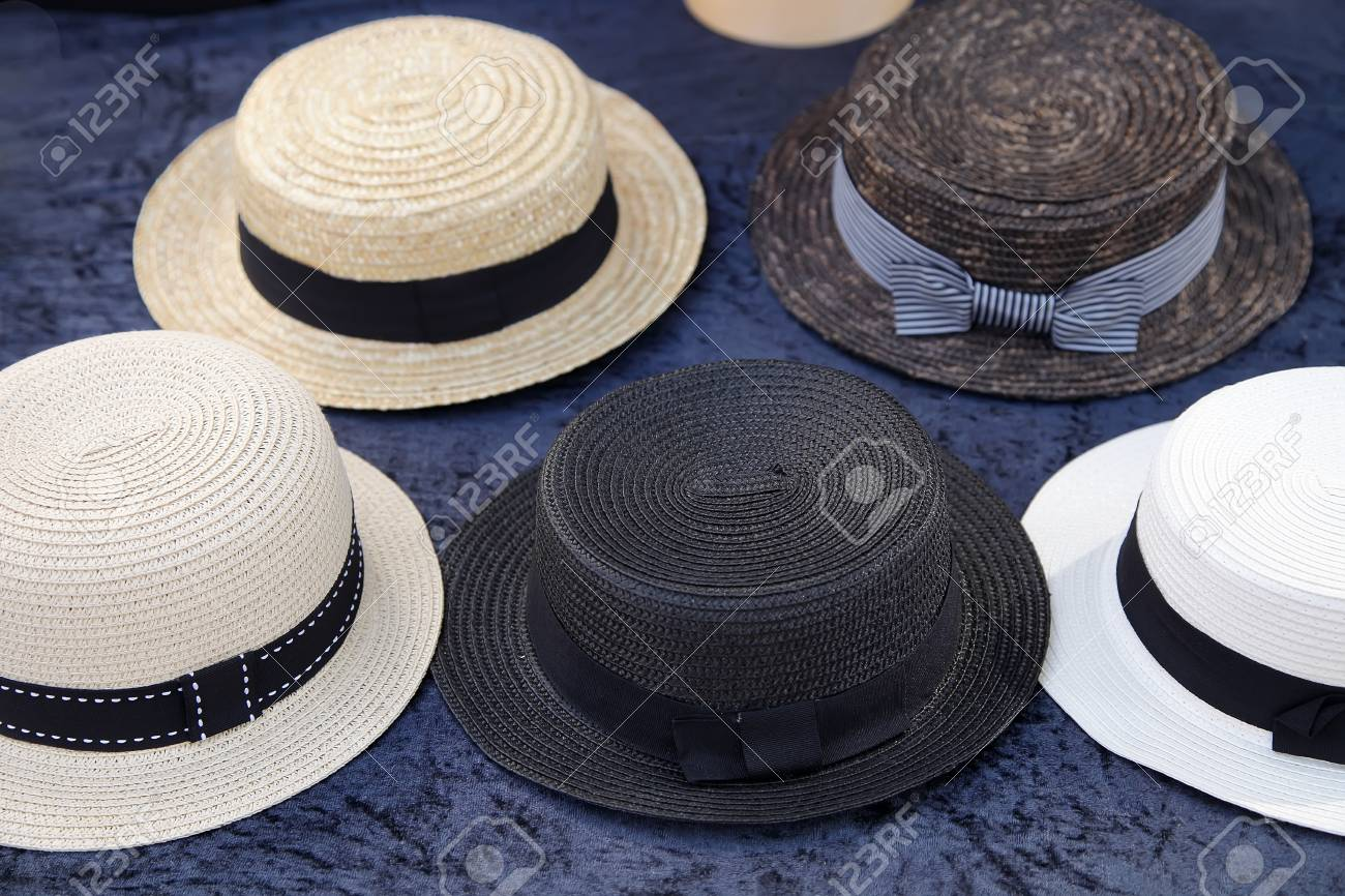 fc9fef9c260d6 Stock Photo - Vintage straw boater hats