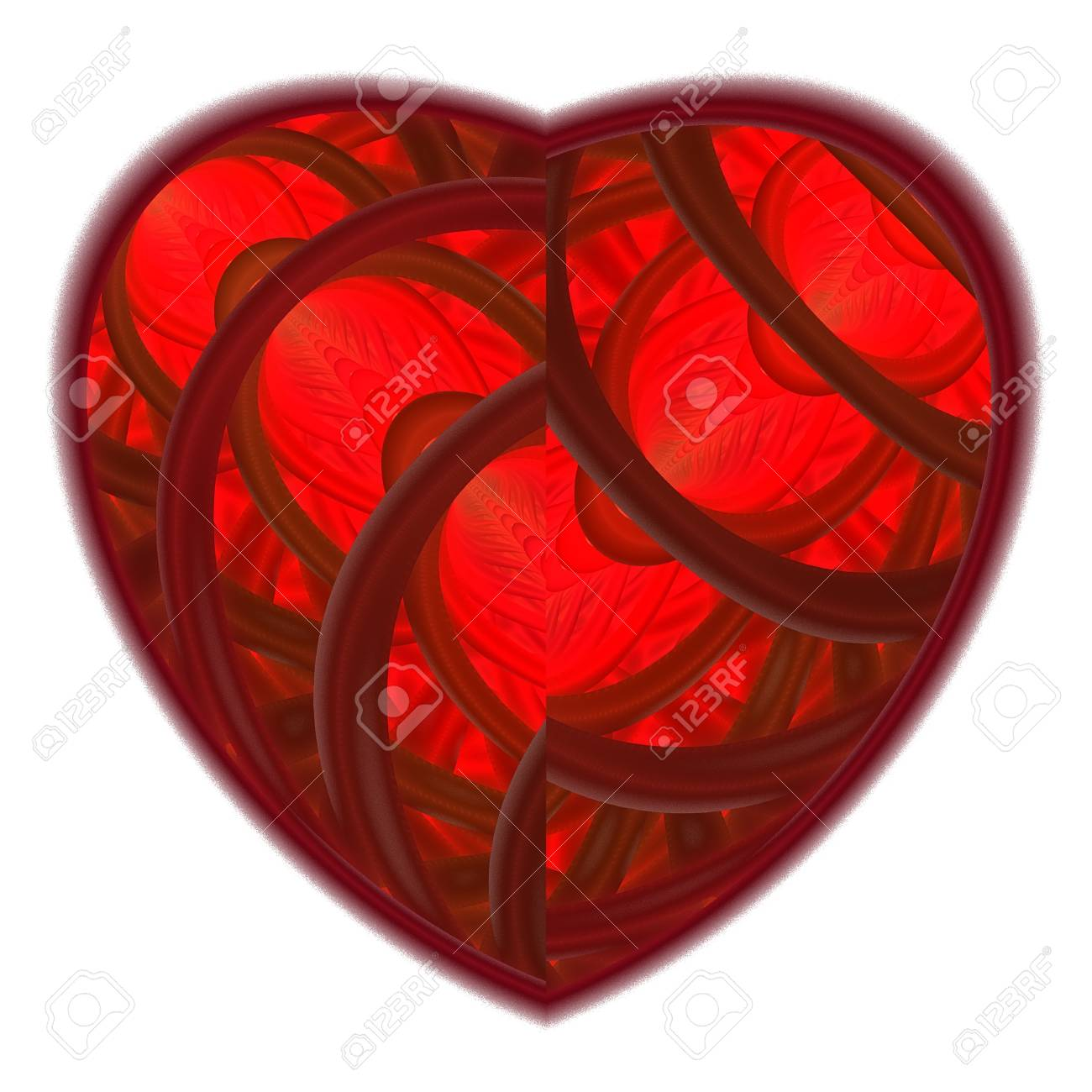 Red heart fractal on white background. Computer generated graphics. Stock Photo - 17604127