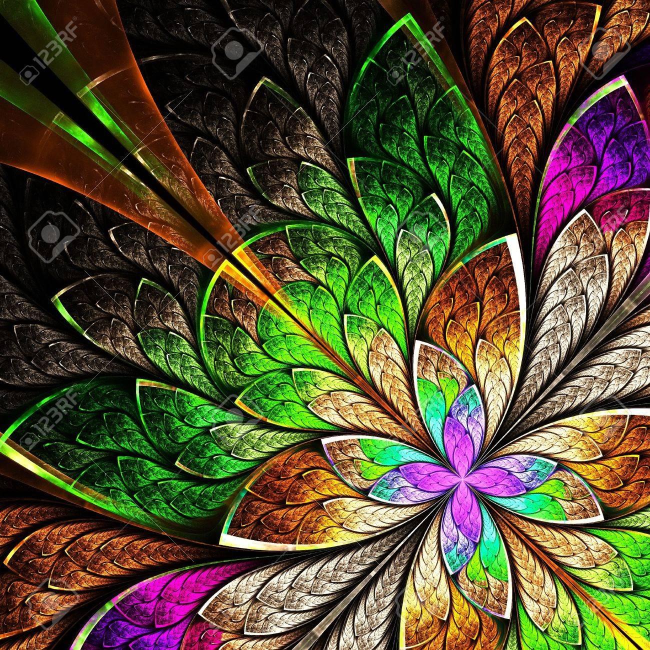 banque dimages belle fleur fractale en jaune vert et violet graphiques gnrs par ordinateur - Vert Et Violet