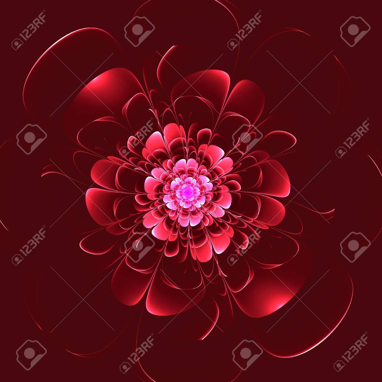 Belle Fleur Rouge Sur Fond Rouge Graphiques Generes Par Ordinateur