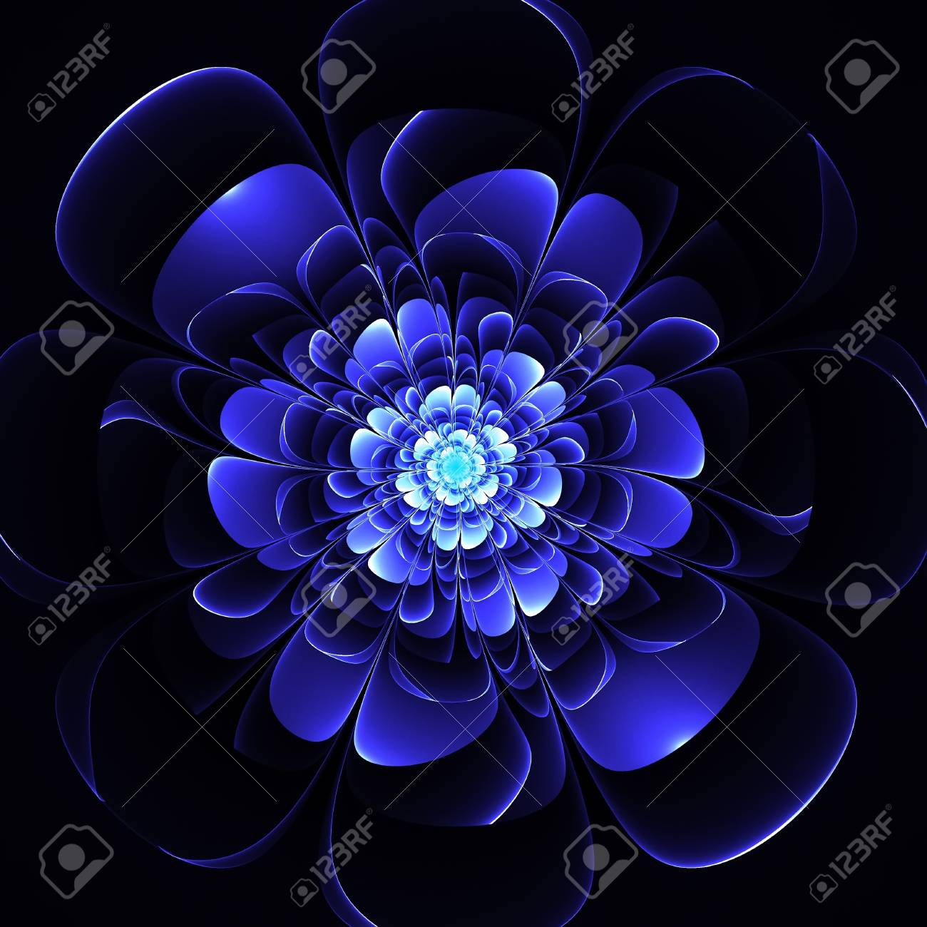 Beautiful Blue Flower On Black Background Computer Generated