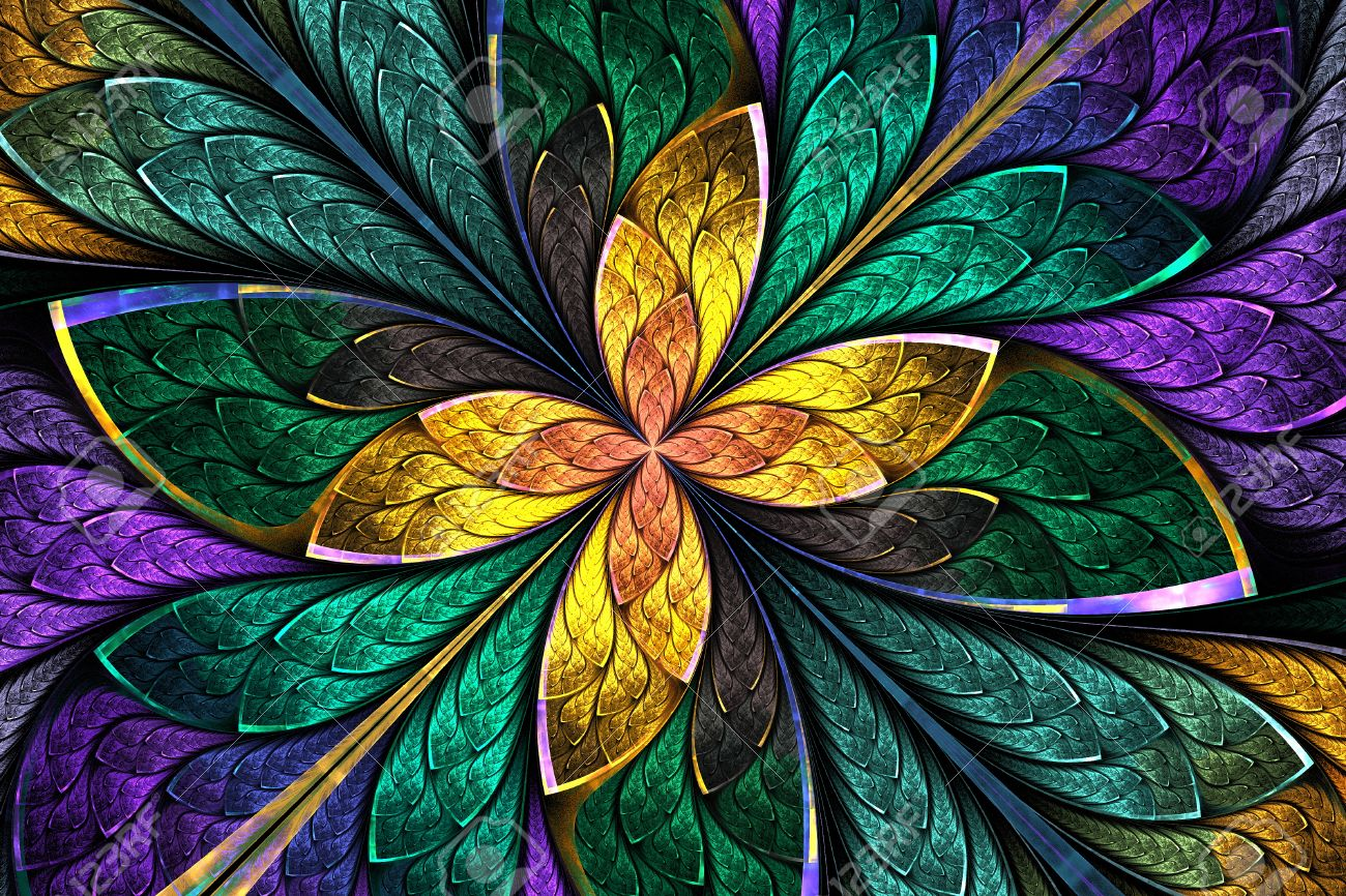 Multicolored Fractal Flower Or Butterfly In Stained Glass Window Style Computer Generated Graphics