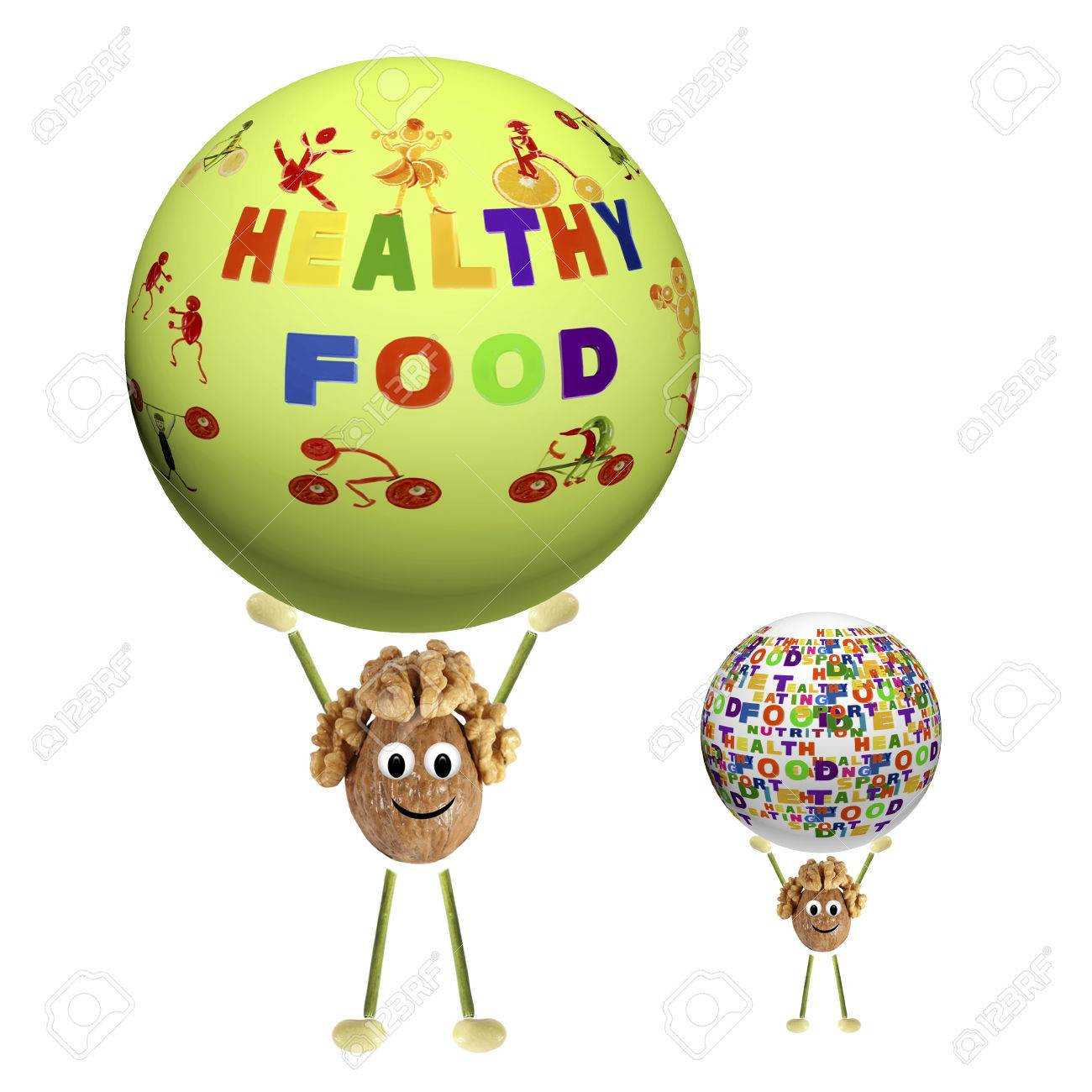two funny little nut holding sphere with the words healthy food